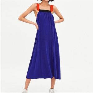 NWT Zara blue micro pleated dress red straps